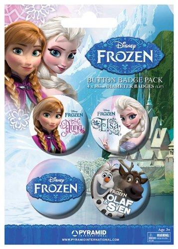 Frozen - 4 Piece Disney Button / Pin / Badge Set (Anna, Elsa, Olaf & Logo)