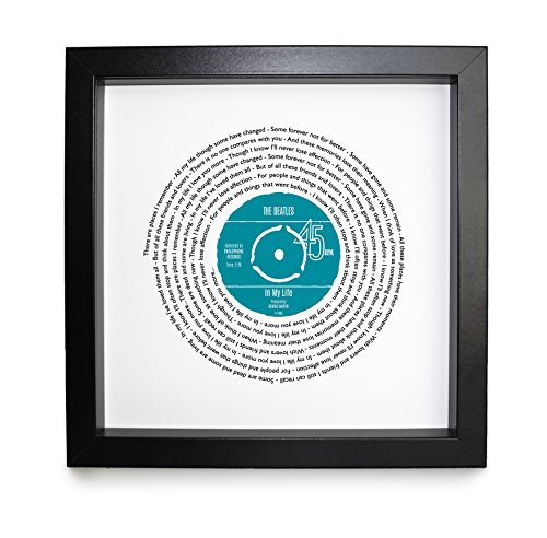 The Beatles In My Life Personalised Song - Vinyl Record Print of First Dance or Anniversary Song - fully framed BLACK box 9.5 inch frame