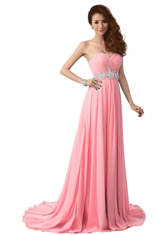 Beauty-Emily Damen trägerlosen Kapelle Zug Strass Hochzeit Kleid,pink,Größe 34