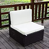 Yescom Outdoor PE Rattan Wicker Armless Sofa Chair Seat Cushioned UV Protection Patio Garden Backyard Furniture
