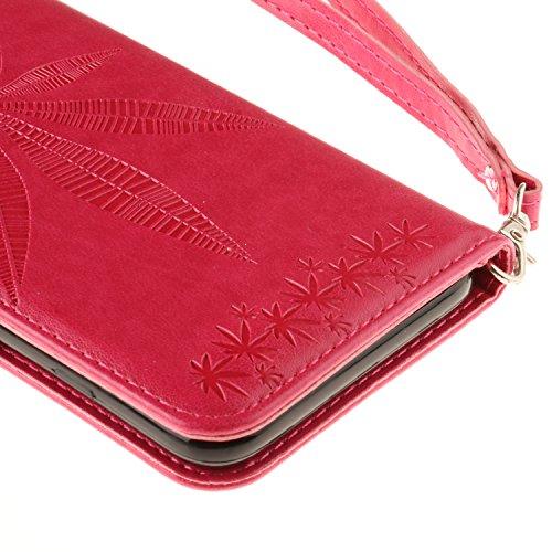 IPhone 7 Plus Housse Case, Double Side Embossing Fleurs Haute Qualité Flip Stand PU Leather Case avec Lanyard Wallet & Card Cash Slots pour Apple IPhone 7 Plus ( Color : Rose )