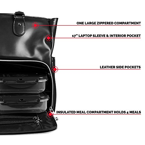 6 Pack Fitness Renee Leather Tote with Insulated Meal Management System, Black (25405) by 6 Pack Fitness (Image #3)