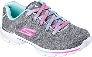 Skechers Pre/Grade School Girls' GOwalk 3 Jersey Jumpers Shoe Grey/Multi