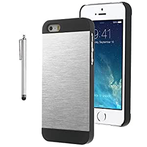 Pandamimi ULAK Brushed Steel Aluminum Chrome Case for iPhone 5S 5 with Screen Protector and Stylus (Black+Silver)
