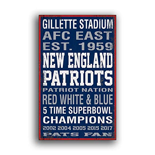 Ruskin352 New England Patriots Football Print on Wood Decor Wooden SpoWood Plaque Home Decor Wall Signs Plaque