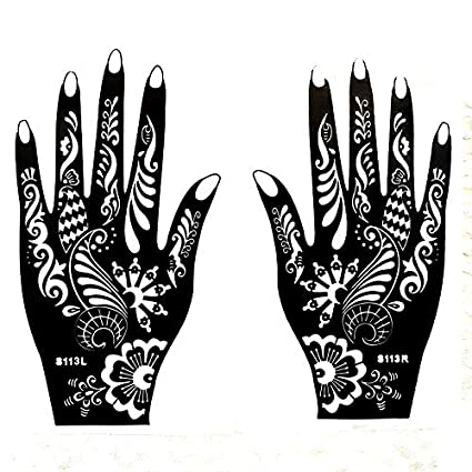 Homely 1pcs Large Henna Tattoo Stencils For Hand Painting, Flower