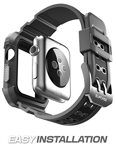 Apple Watch 3 Case 38mm, SUPCASE [Unicorn Beetle Pro] Rugged Protective Case with Strap Bands for Apple Watch Series 3 2017 Edition [38mm, Compatible with Apple Watch 38mm 2015 2016 ] (Black) by SUPCASE (Image #3)