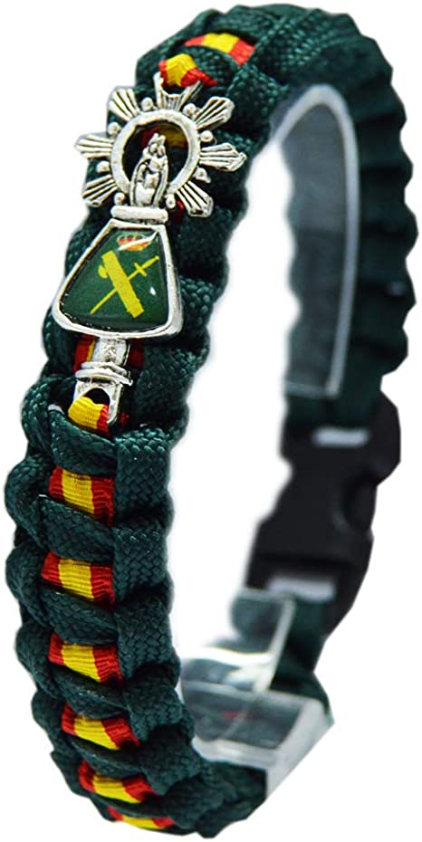Pulsera Paracord Virgen del Pilar. Verde Guardia Civil. Medida: 21 ...