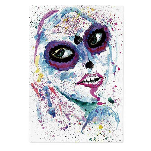 TecBillion Girls Printed Tablecloth,Grunge Halloween Lady with Sugar Skull Make Up Creepy Dead Face Gothic Woman Artsy for Rectangle Table Kitchen Dinning Party,36.2''W X 54.3''L ()