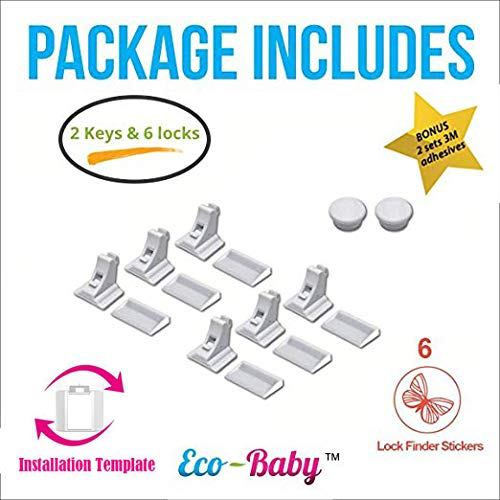 Baby & Child Proof Cabinet & Drawers Magnetic Safety Locks - Heavy Duty Locking System (6 Pack) by Ecobaby (Image #2)