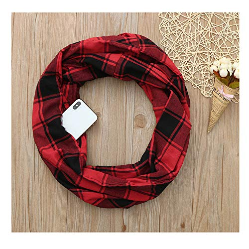 Price comparison product image Women Man Winter Plaid Print Warm Scarf, Infinity Neck Warmer Wrap Scarf With Hidden Zipper, Secret Pocket For Casual, Travel (Red)