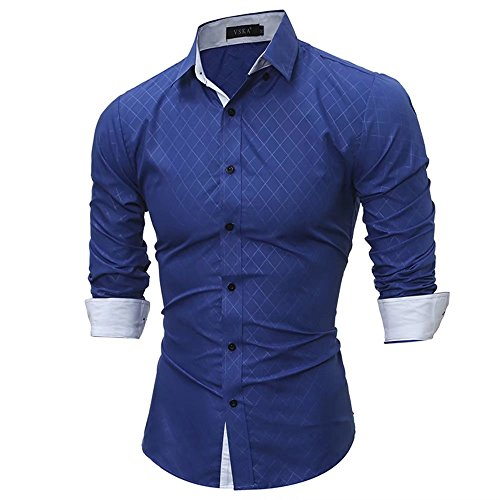 Men's Classics Causal Slim Fit Button Down Shirt Long Sleeve Work Shirts Solid Color(Royalblue M)