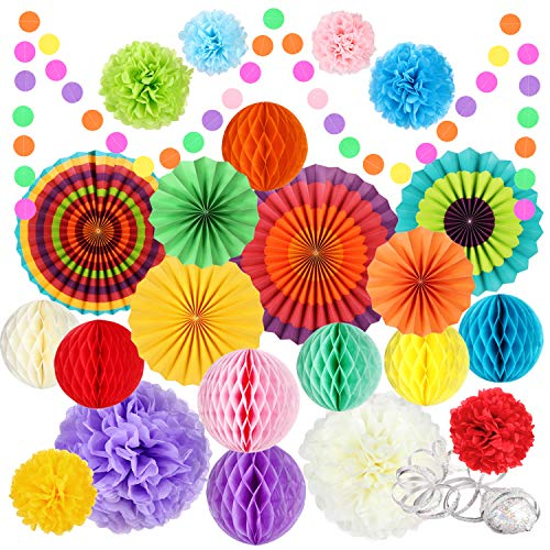 Fiesta Party Decorations 25 Pcs, Mexican Cinco De Mayo Decoration- Rainbow Hanging Paper Fans Tissue Pom Poms Circle Dot Garland Honeycomb Ball, for Birthday Baby Shower Carnival Wedding Bridal