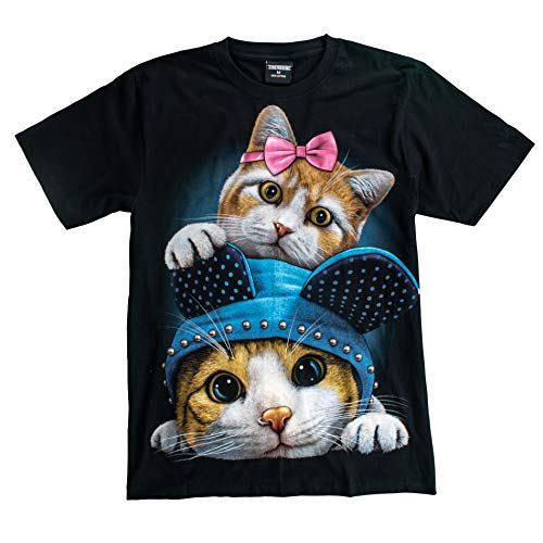 T-Shirt Sale 3D Glow in Dark Animal for Man Unisex (Medium, Cat3 - Twin Cat)