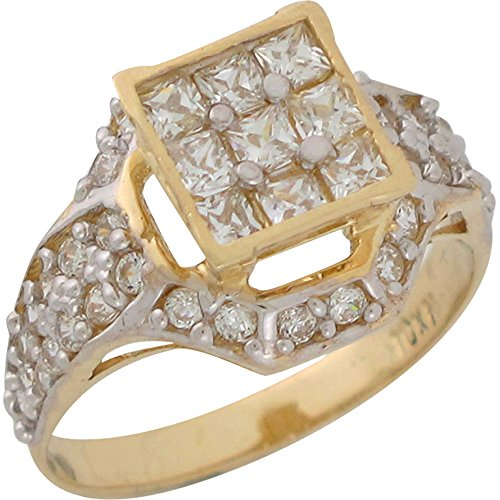 (Jewelry Liquidation 10k Two Tone Gold White CZ Cluster Radiant Ladies Ring)
