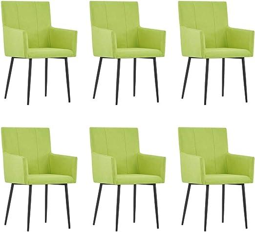 vidaXL 6X Sillas de Comedor con Reposabrazos Tela Hogar Jardín Salón Comedor Bricolaje Decoración Diseño Estilo Mobiliario Muebles Asiento Banco Verde: Amazon.es: Hogar