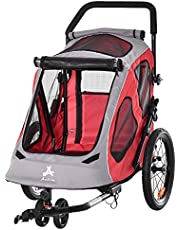 Aosom Dog Bike Trailer 2-in-1 Pet Stroller Cart Bicycle Wagon Cargo Carrier Attachment for Travel with 360 Swivel Wheel Reflectors Parking Brake Straps Cup Holder Red
