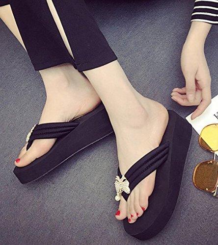 zapatillas bizcocho pendiente la Arrastre zapatillas elegante pajarita AJUNR Moda playa 37 palabra Sandalias Negro 35 grueso de de con 6cm suelte y Transpirable zapatos wypqRqWT6