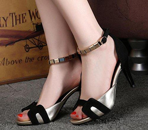 Eu Peep Toe Tornozelo Pbxp Stiletto Elegantes Sandálias Preto Solas 34 No 39 Tamanho Respirável 39 Antiderrapantes Salto Casuais Sapatos Tira xn61IIqwR