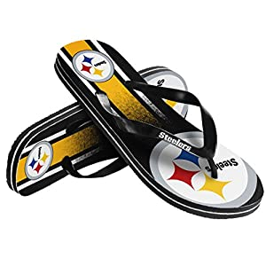 Pittsburgh Steelers Unisex Gradient Big Logo Flip Flop Large from Team Beans, LLC