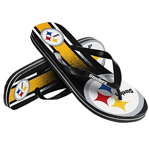 Pittsburgh Steelers Unisex Gradient Big Logo Flip Flop Medium at Steeler Mania