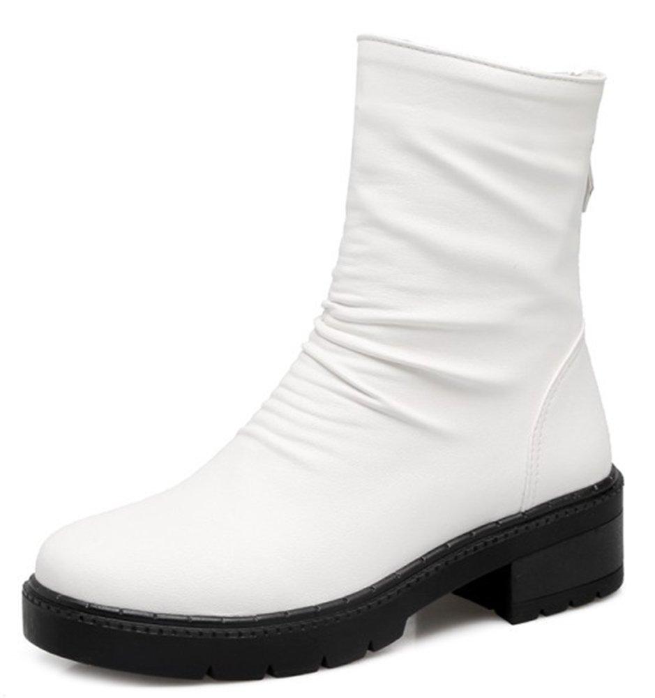 Easemax B000W069PS Femme Classique Petit Talon Talon Low Boots Boots Bottines Blanc 57322f6 - shopssong.space