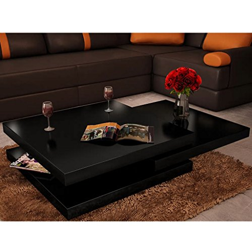 - Festnight 3 Layer Coffee Table Extendable High Gloss Sofa Side Table with Slide and Foldable Tier Living Room Home Office Furniture (Black)