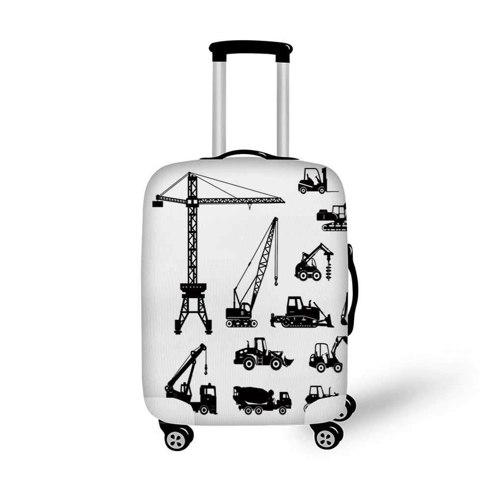 26.3W x 30.7H Construction Stylish Luggage Cover,Abstract Background with Caution Tape Inspired Frame Borders Decorative for Luggage,L