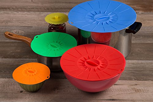 Kitchen Winners Silicone Suction Lids - Set of 5 Food Covers - Fits Various Sizes of Cups, Bowls, Pans, or Containers