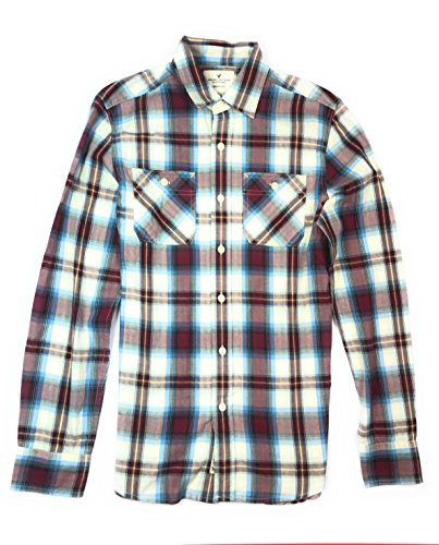 American Eagle Men's Seriously Soft Button Down Plaid Workwear Shirt ( 9675 ) (X-Small, 600 (American Eagle Oxfords)