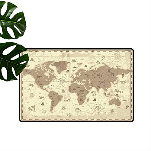 Anzhutwelve Map,Durable Rubber Door Mat Aged Retro Styled Map of The World with Mountains Fantasy Monsters and Compass Home Decoration Door Mats W 20