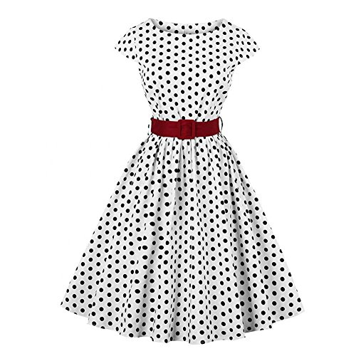 (Women Vintage Polka Dot Dress 1950s Waist Belt Cocktail Party Swing Retro Dress(3XL))