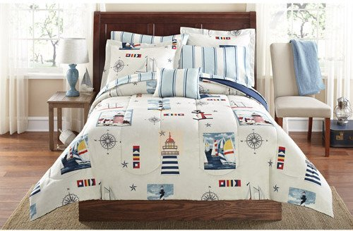 Nautical Comforter Sets - Blue Red Lighthouse Beach Nautical Twin Comforter Set (6pc Bed in a Bag)