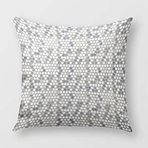 Faded Blue And Cream Circle Mosaic Pillow Cover for Sofa or Bedrooms