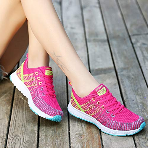 38 Deporte Negro de Rojo Color Zapatillas tamaño Qiusa con Mujer EU Planas Transpirables de Cordones Zapatos B006T