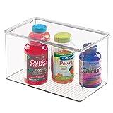 mDesign Storage Box Organizer for Vitamins, Medicine, Medical, Dental Supplies - Deep, Clear