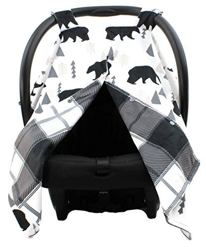 Camo Changing Pad Cover (Dear Baby Gear Deluxe Car Seat Canopy, Custom Minky Print Black Bears, Black and Grey Plaid Minky)