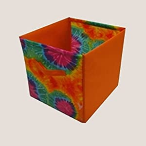 Innovative Home Creations Pop-Up Tie-Dyed Storage Cube Orange One Size