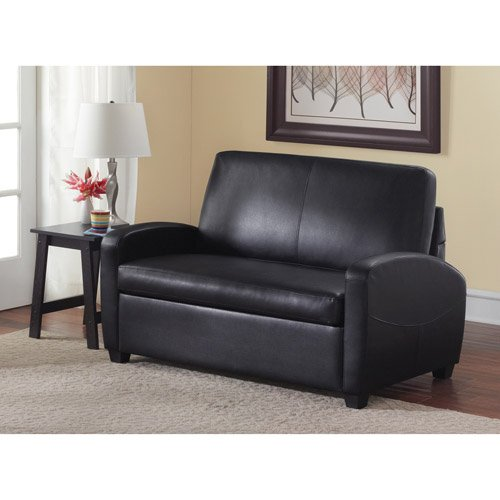 Sofa Sleeper, Black. This Faux Leather Sleeper Sofa Has Contemporary Style and a Modern Black Finish. Guaranteed to Make an Impression on Guests, This Sleeper Sofa Twin Comes with a Sleeper Sofa Mattress. Sleeper Sofas Are a Great Addition.