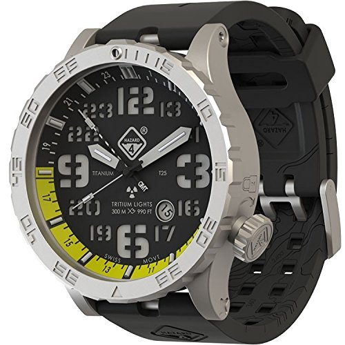 Hazard 4 HWD BlackTie Yellow GMT Dive-Watch 4, Green/Yellow Tritium (Hazard Watch)
