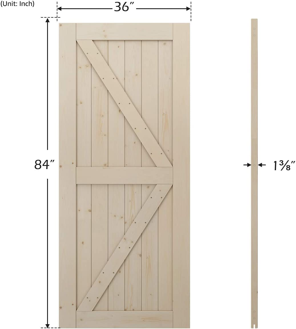 Solid Nature Wood LD Build 36in x 84in Sliding Barn Wood Door Slab with Barn Door Handle Set and Bottom Floor Guide Easy Installation,K-Frame Fit 6-6.6FT Track DIY Unfinished Panel Environmental