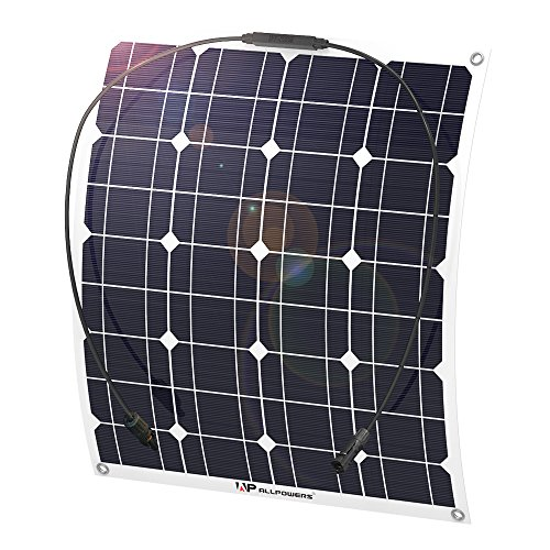 ALLPOWERS 50W 18V 12V Solar Panel Charger Water/ Shock/ Dust Resistant Solar Charger for RV, Boat, Cabin, Tent, or Any Other Irregular Surface
