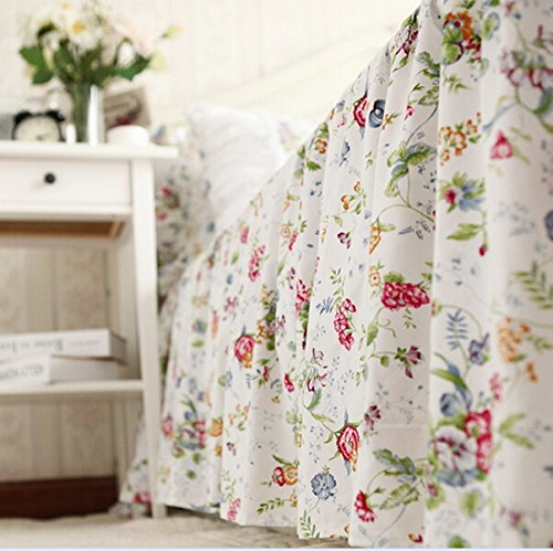 (Brandream Romantic Girls Rustic Floral Skirted Bed Sheets Korean 100% Cotton Bed Skirts King Size)