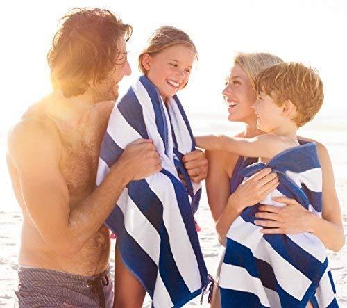 Toalla de playa grande en Cabana Stripe Azul 89 x 178 cm UTOPIA Algod/ón