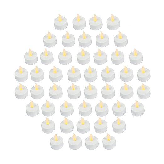 Bargain Outlet Velas LED tipo té sin llama, parpadeantes y brillantes; funcionan con pilas (incluidas), color amarillo, 48 unidades