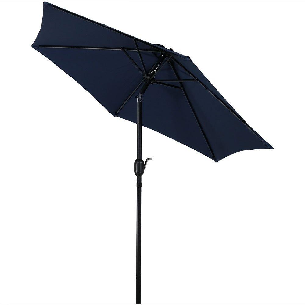 Sunnydaze 7.5 Foot Outdoor Patio Umbrella with Tilt Crank, Aluminum, Blue