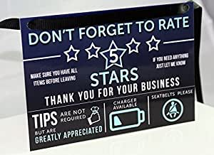Uber Lyft Tip and Rating Sign for Rideshare Drivers Large 5x8 inches 10 MIL Durable & Thick Laminate by Louisville Marketing