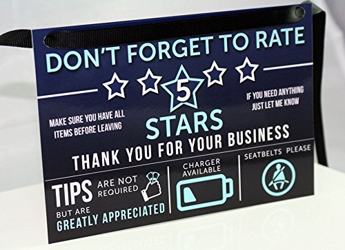 Uber Lyft Tip And Rating Sign For Rideshare Drivers 5X8 Inches 10 Mil Durable Laminate By Louisville Marketing