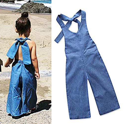 Yoveme Toddler Baby Girl Summer Clothes Overalls Backless Jeans Denim Suspenders Outfit Bell-Bottom Blue Pants (4-5T)
