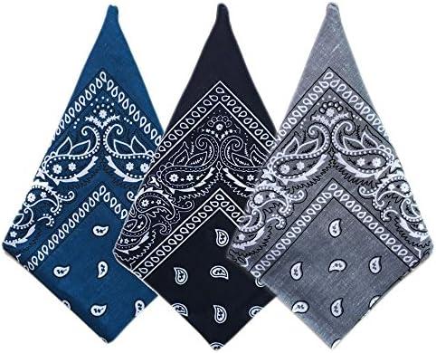 Trebien Paisley 100/% cotton Bandanas Headband Pack Of 3 Cotton Bandana Multifuntional Square Scarf Hair Head Neck Headwear